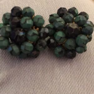 Vintage green and black lucite bead clip earrings